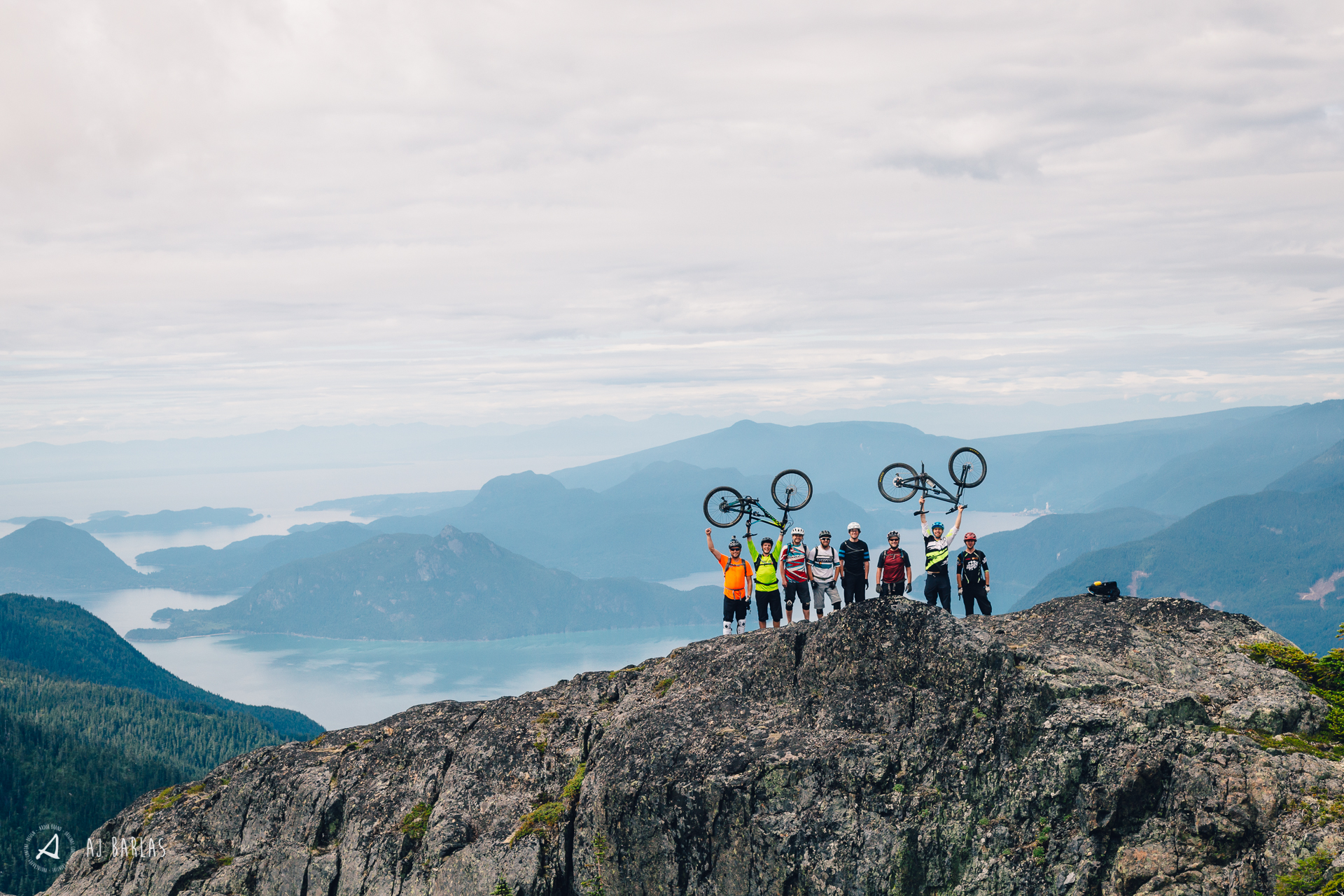 The Stag party stoked above the Howe Sound