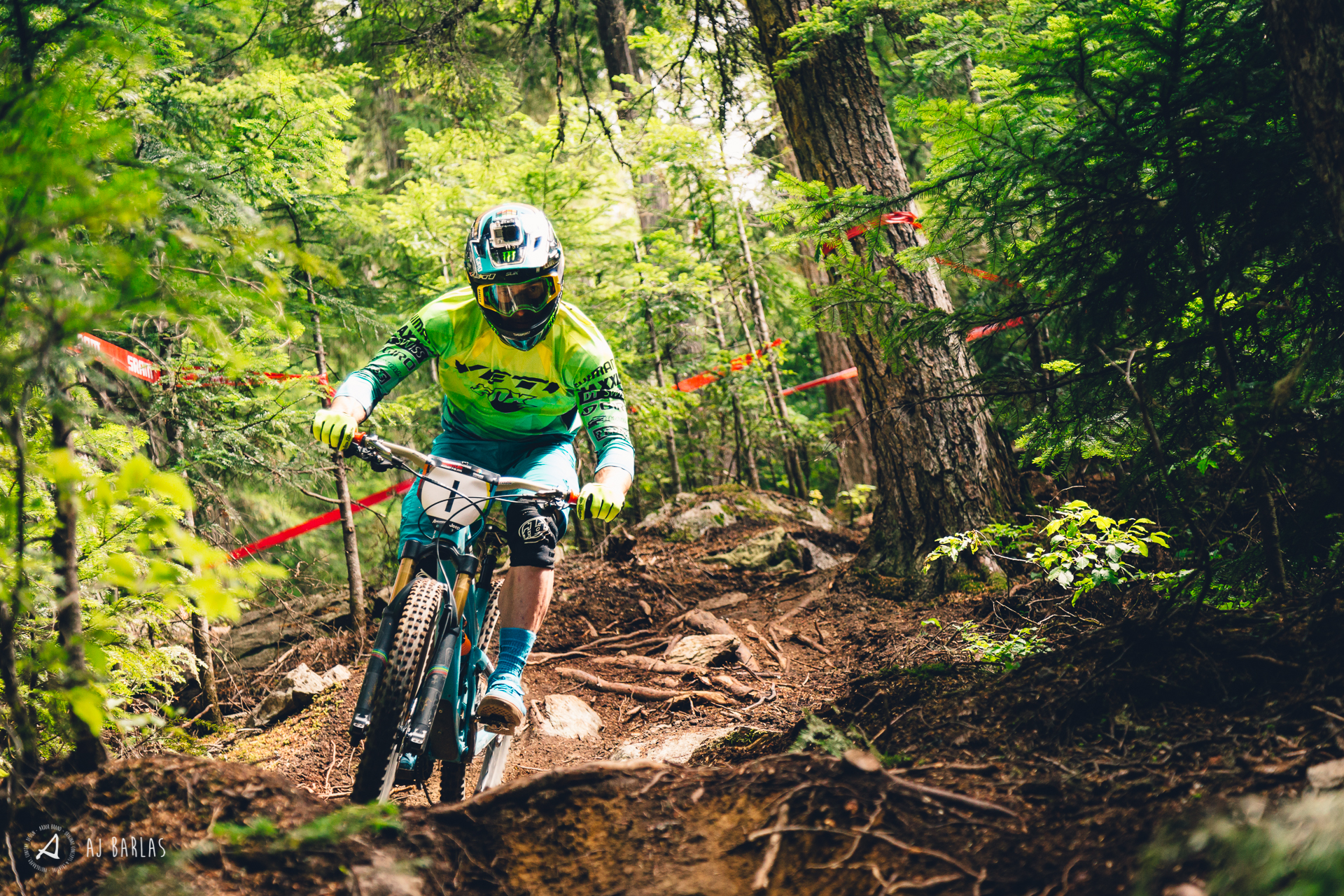 Jared Graves makes light work of the slippery woods of Boyds