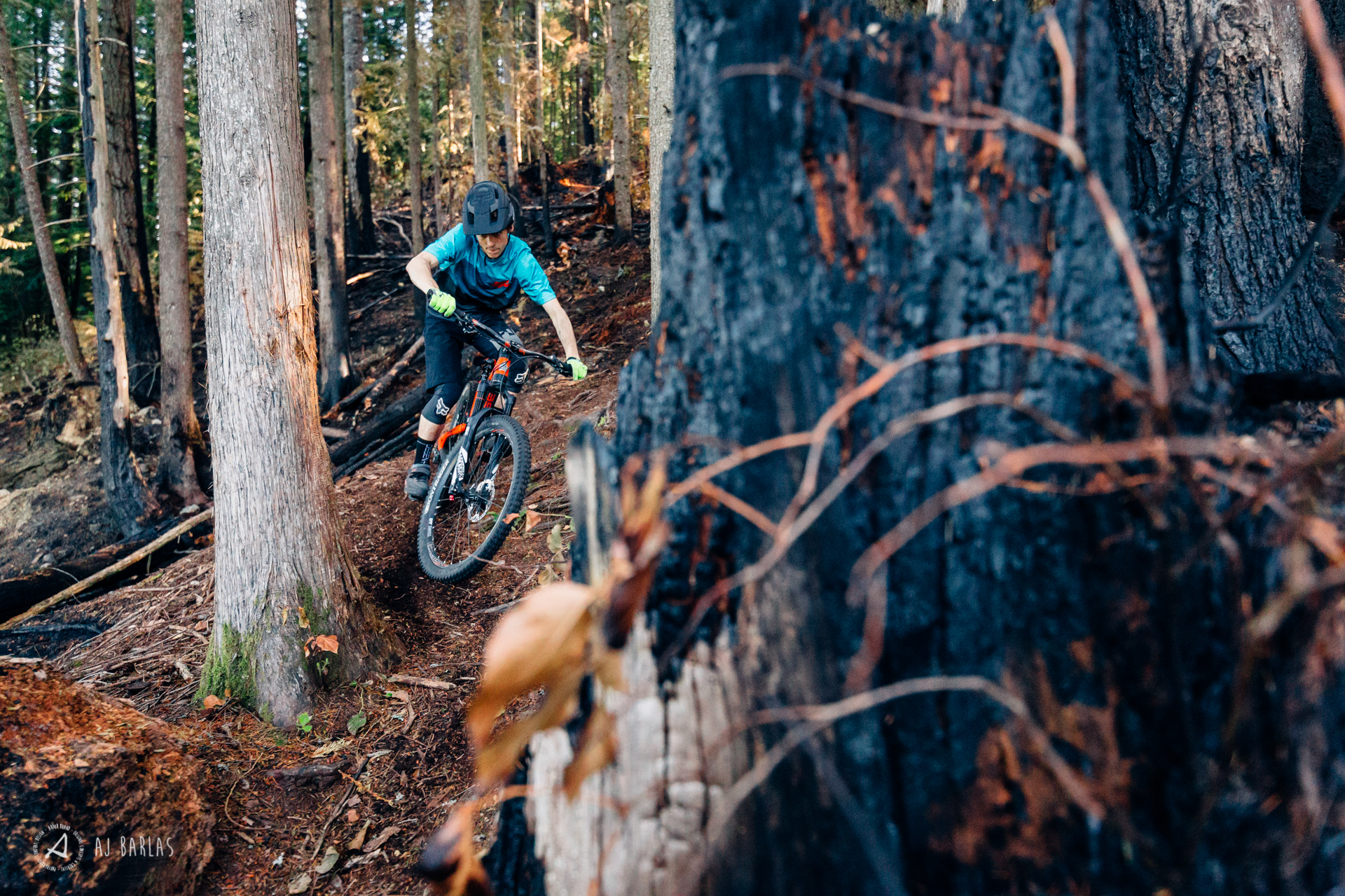 Jessie Mcauley riding his trail bike through burnt forrest