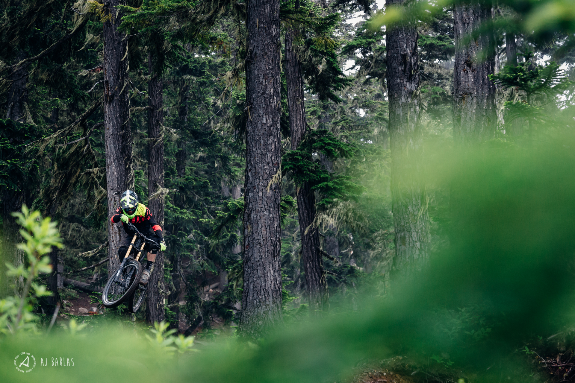 Jessie Mcauley flying through the old growth of the Whistler Bike Park
