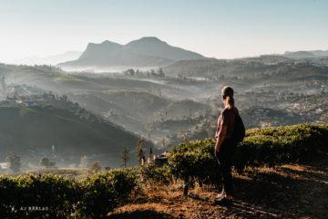 Elana overlooking Nuwara Eliya, Sri Lanka