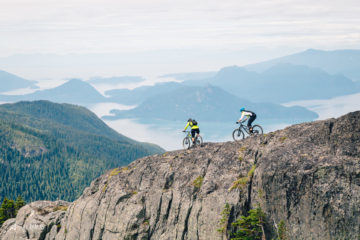 Brandon Turman and Nick Zuzelski high above the Howe Sound