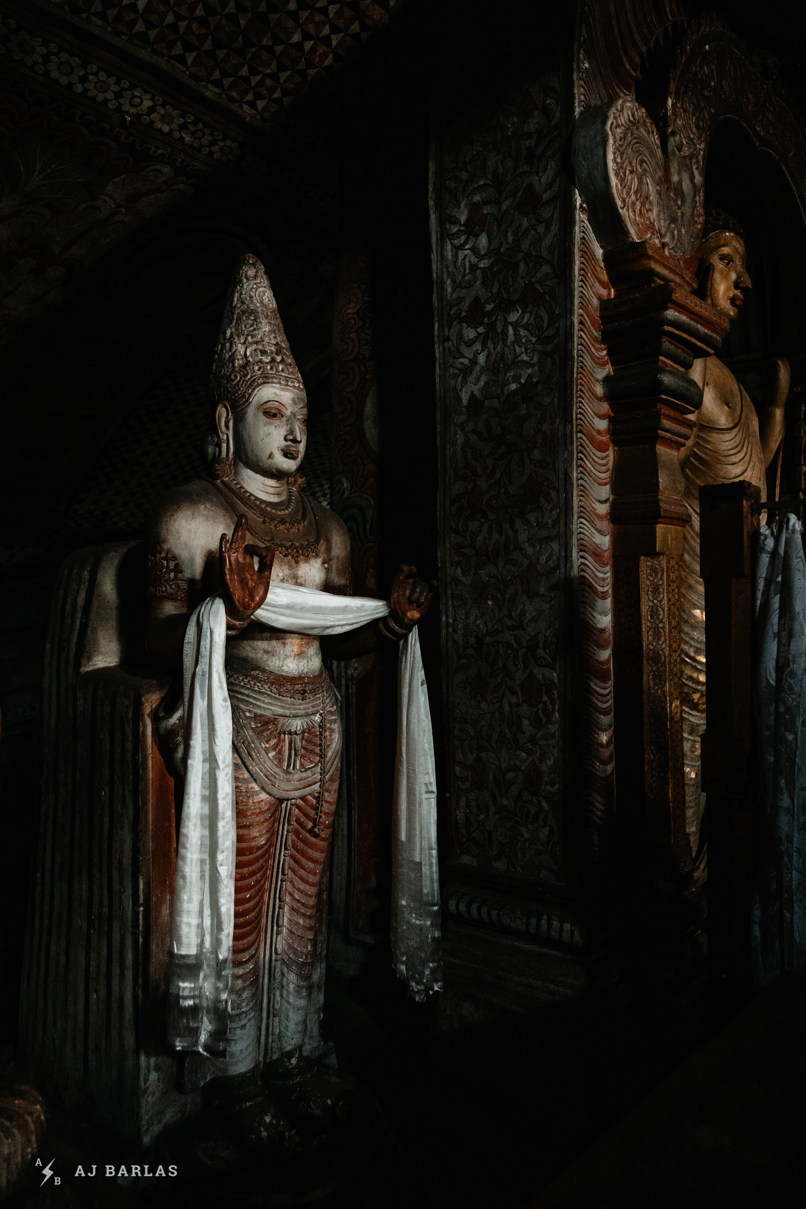 Buddhist statues at the Dambulla Cave Temple in Sri Lanka